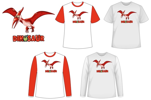 Set di diversi tipi di magliette in tema di dinosauri con logo di dinosauro Vettore gratuito