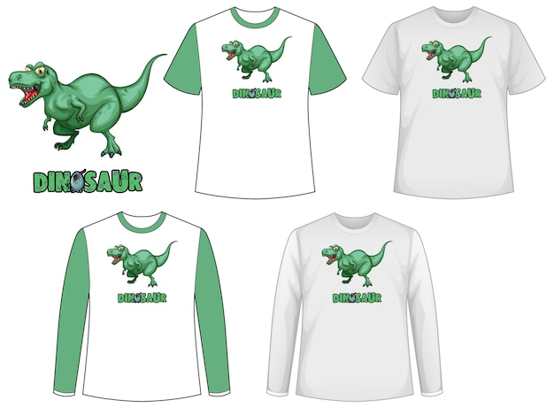 Set of different types of shirt in dinosaur theme with dinosaur Free Vector