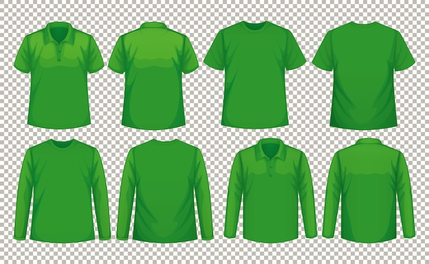 Set of different types of shirt in same color Free Vector