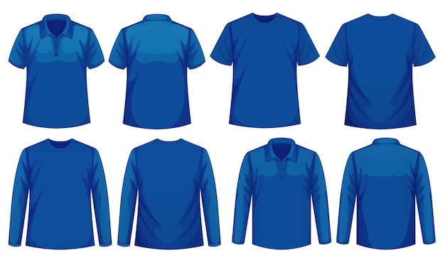 Set di diversi tipi di camicia dello stesso colore Vettore gratuito