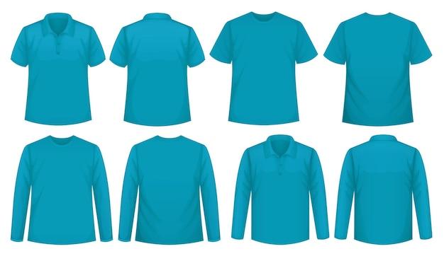 Set dari berbagai jenis kemeja dalam warna yang sama