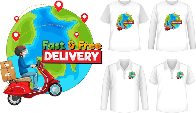 Set of different types of shirts with fast and free delivery logo screen on shirts Free Vector