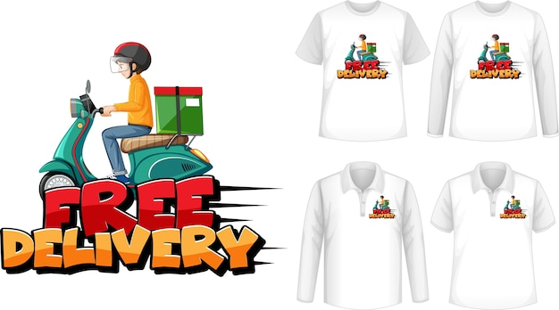 Set of different types of shirts with free delivery logo screen on shirts Free Vector