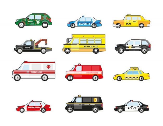 Set of different types transportation icons. Premium Vector