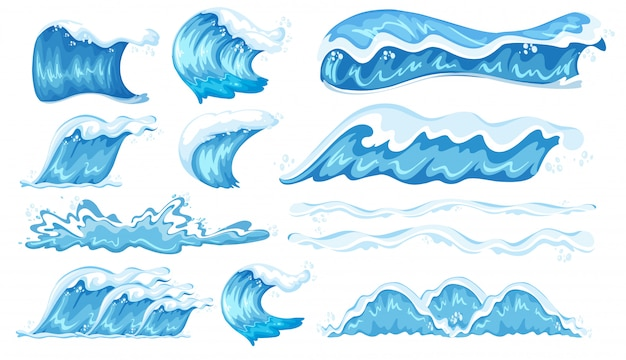 Set of different wave Premium Vector