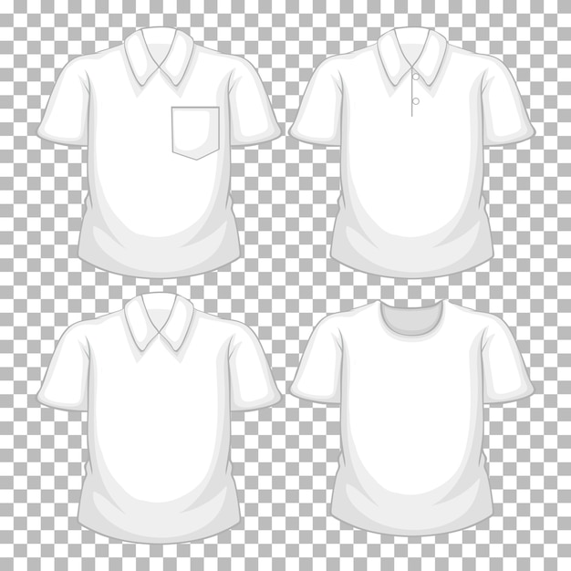 Set of different white shirts isolated on transparent background Free Vector