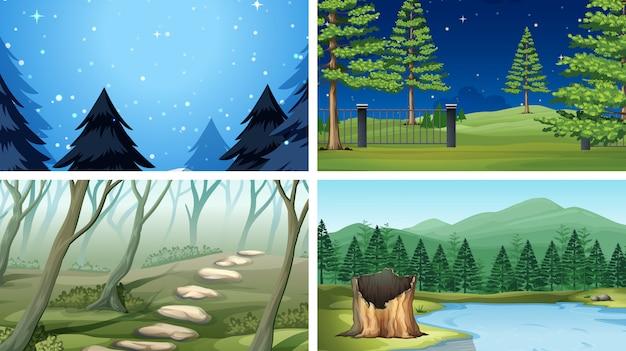 Set of different wood scenes Free Vector
