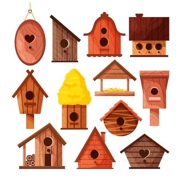 Set of different wooden handmade bird houses isolated on white background. Premium Vector