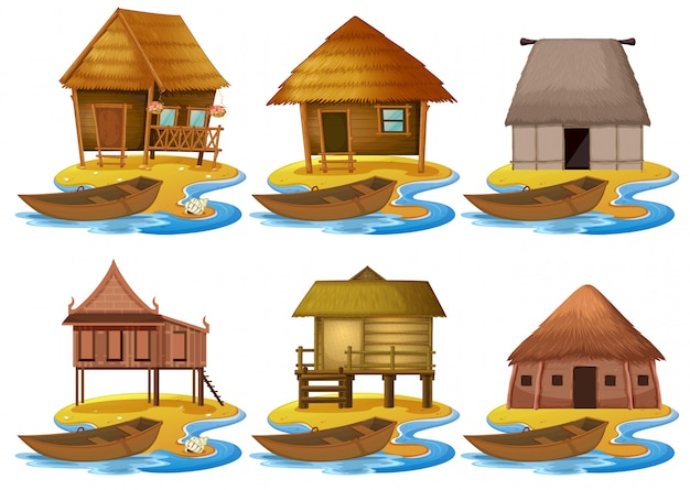 Set of different wooden house Free Vector