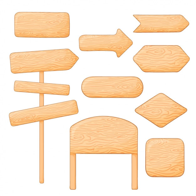 Set of different wooden signs and boards. blank and pointing arrows Premium Vector