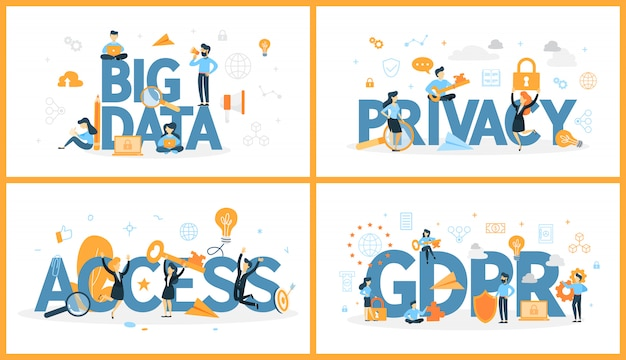 Set of digital data word with people around. access and privacy, big data and gdpr. modern computer technology concept.   illustration Premium Vector