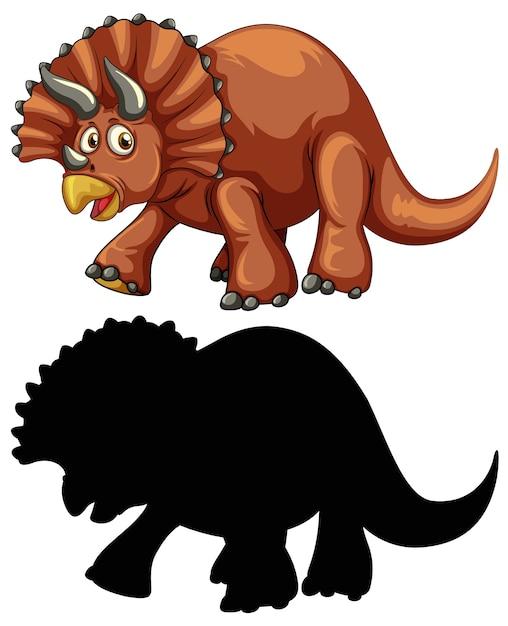 Set di personaggio dei cartoni animati di dinosauro e la sua silhouette su sfondo bianco Vettore gratuito