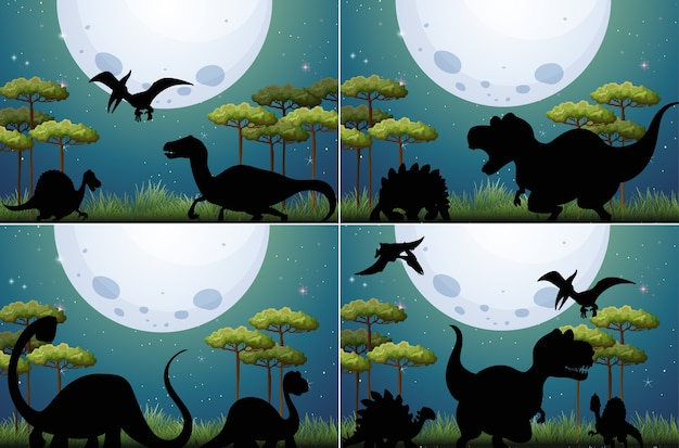 Set di dinosauri in natura Vettore gratuito
