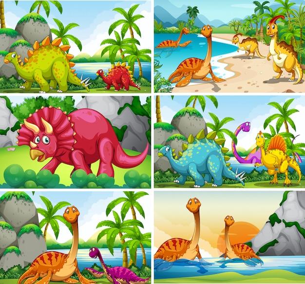 Set of dinosaur scenes Free Vector