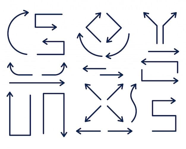 Set di frecce direzionali in stile linea sottile Vettore gratuito