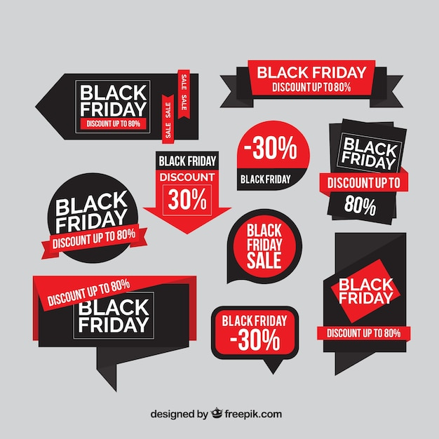 Free Vector | Set of discount black friday stickers in flat design
