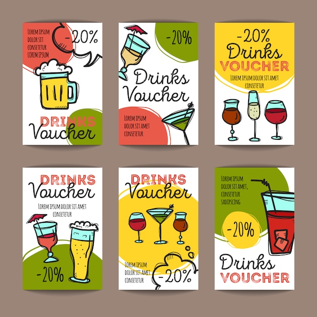Set of discount coupons for beverages Premium Vector