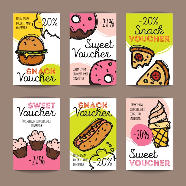Set of discount coupons for fast food Premium Vector