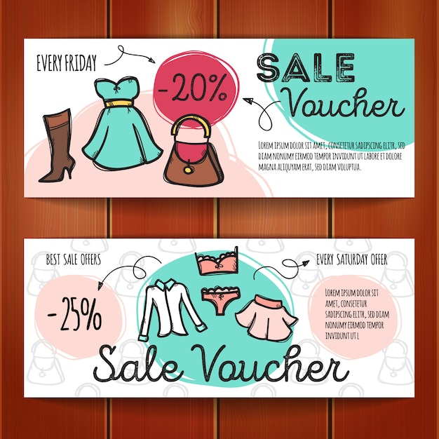 Set of discount coupons for woman clothes Premium Vector