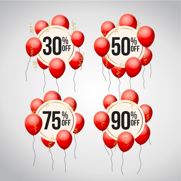 Set of discount offer price label with balloons Premium Vector