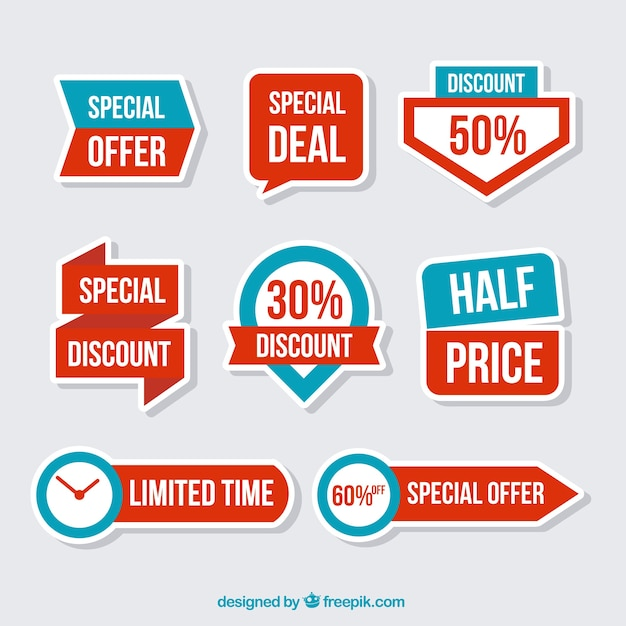 Set of discount stickers in flat design Free Vector