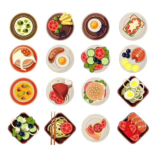 Set of dishes with various food Premium Vector