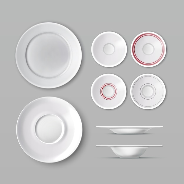 Set of dishware with white empty plates Free Vector