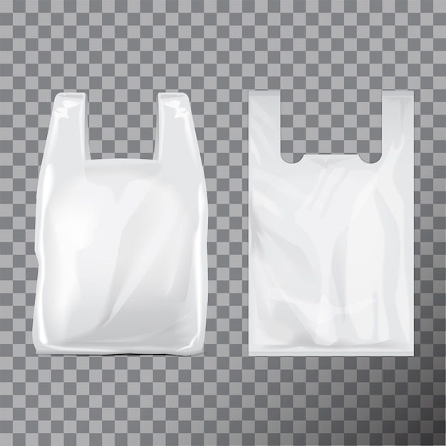Set of disposable  plastic bag package. illustration  transparent background.   template Premium Vector