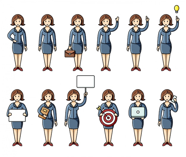 Set of diverse poses business women flat style infographic elements Premium Vector