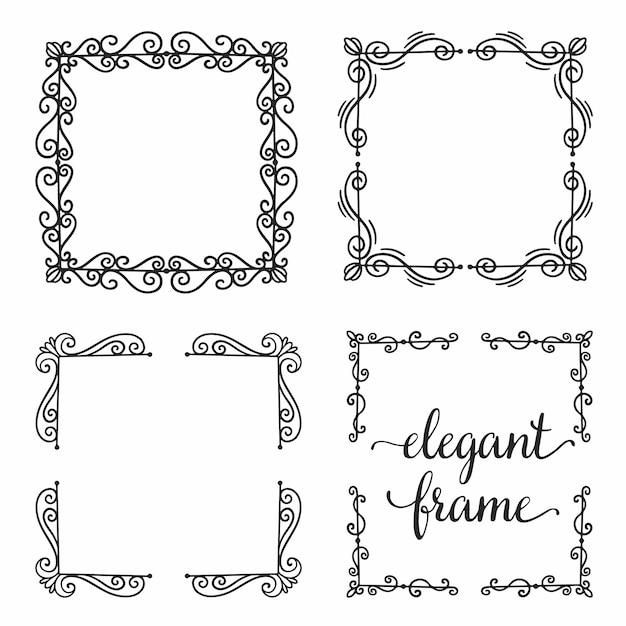 Set divider frame ornament. Premium Vector