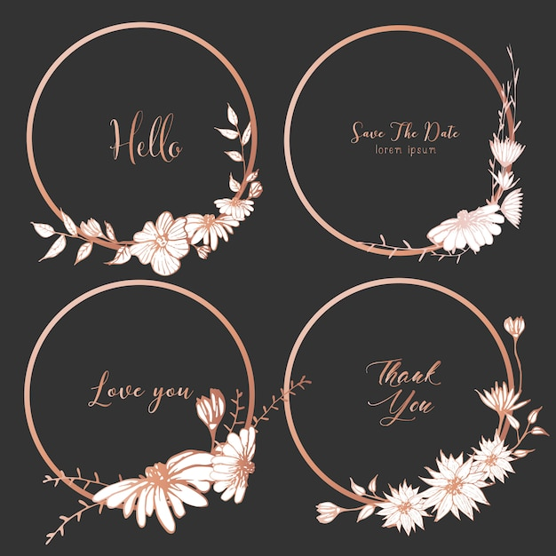 Set of dividers round frames, hand drawn flowers. Premium Vector