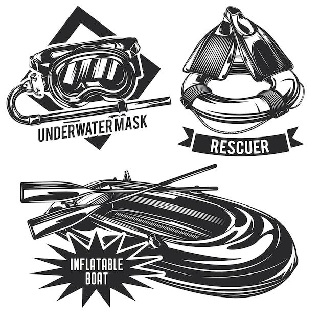 Set of diving emblems, labels, badges, logos. Free Vector