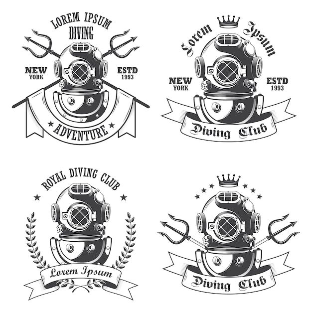 Set of diving labels, emblems and designed elements Free Vector
