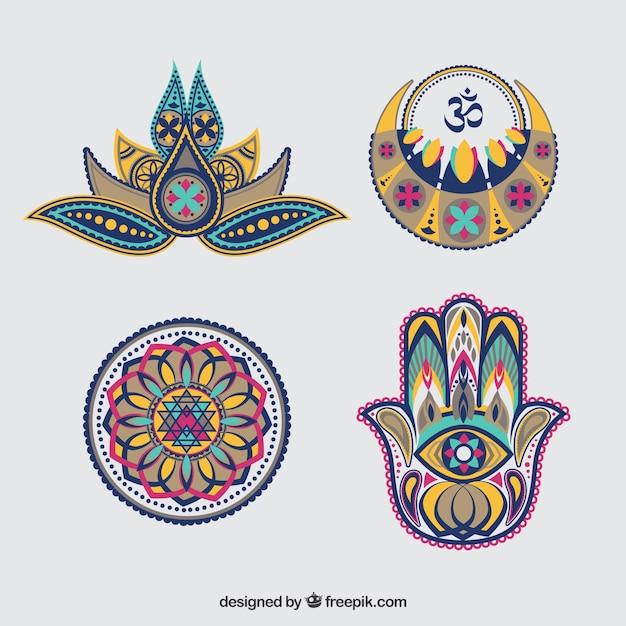 Set of diwali abstract decorative ornaments Free Vector