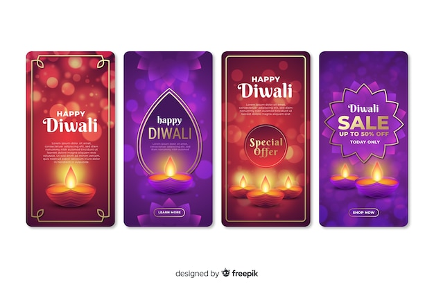 Set of diwali instagram stories Free Vector