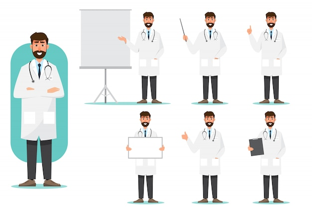 Set of doctor cartoon characters. medical staff team concept in hospital. Premium Vector