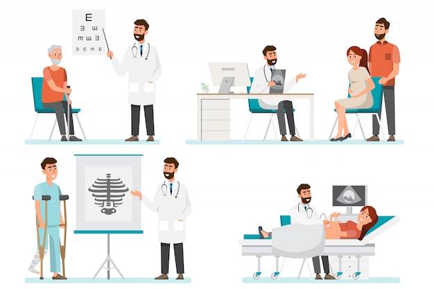 Set of doctor cartoon characters. medical staff team  in hospital. Premium Vector