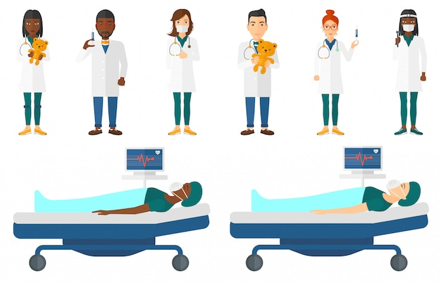 Set of doctor characters and patients. Premium Vector