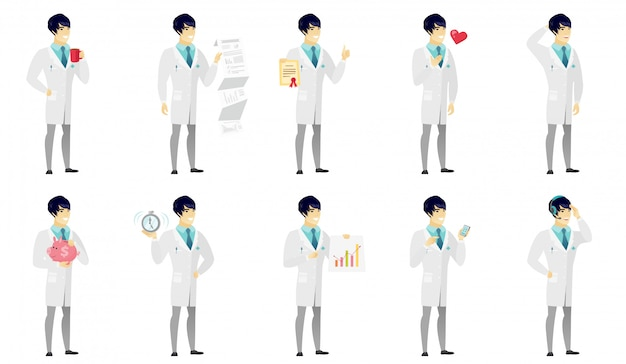 Set of  doctor characters Premium Vector