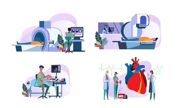 Set of doctors operating medical equipment examining patients Free Vector