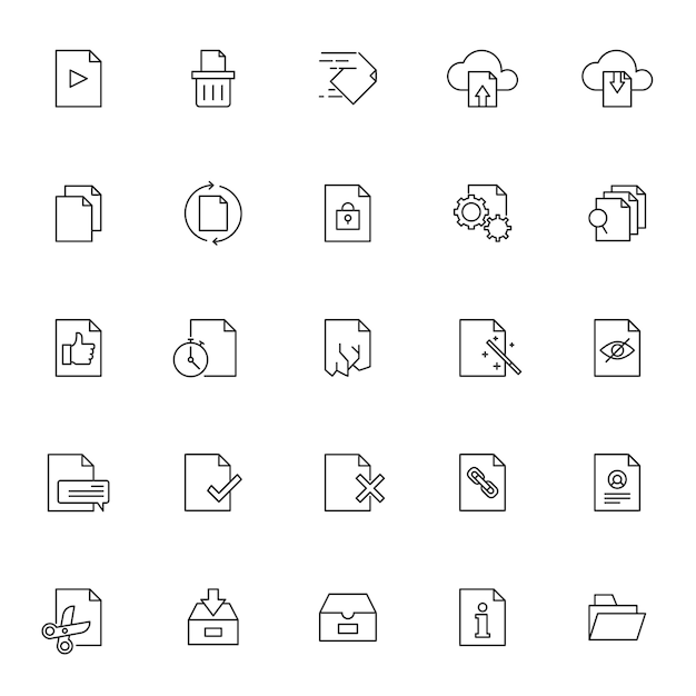 Set of document management icons with simple outline Premium Vector