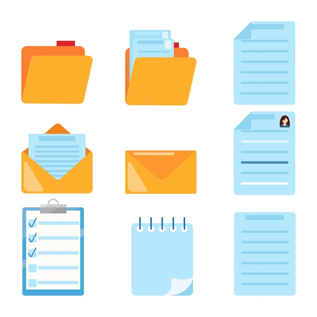 Set of document related symbol. folder, summary, email, spiral notebook, notes, Premium Vector