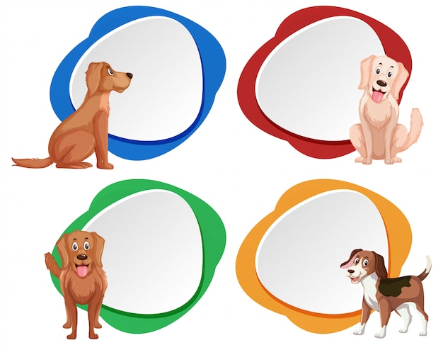 Set of dog banner Premium Vector