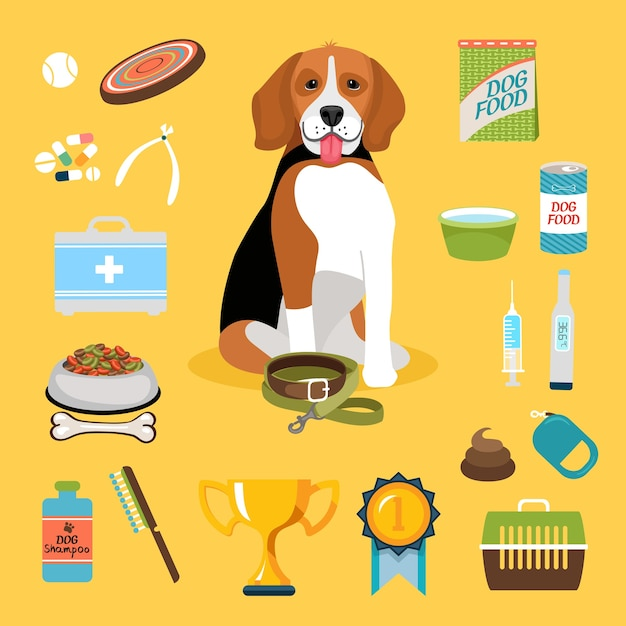 Set of dog life icons and cute puppy Free Vector