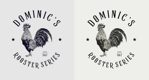 Set of dominic rooster series vintage logo Premium Vector