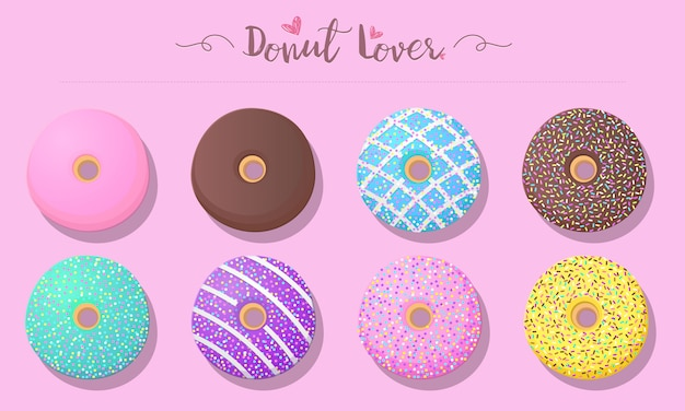 Set of donuts in pastel color Free Vector