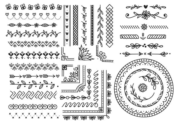 Set of doodle borders Premium Vector