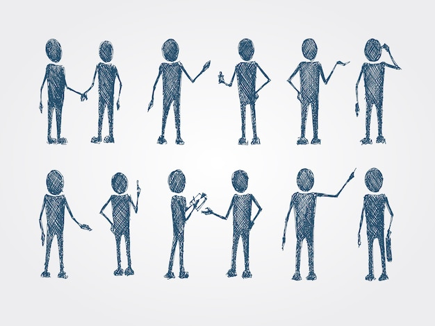 Set of doodle busines people collaboration Free Vector