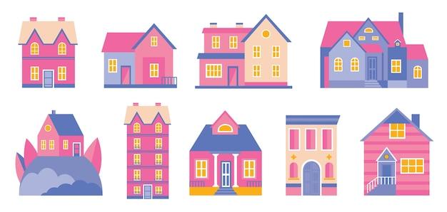 Set of doodle cute houses. cozy cartoon hand drawn buildings in retro pastel colors Premium Vector