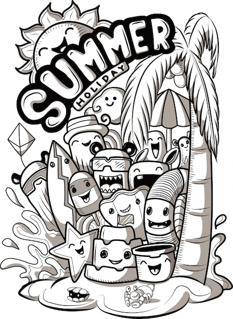 Set of doodle cute monsters with summer elements Premium Vector